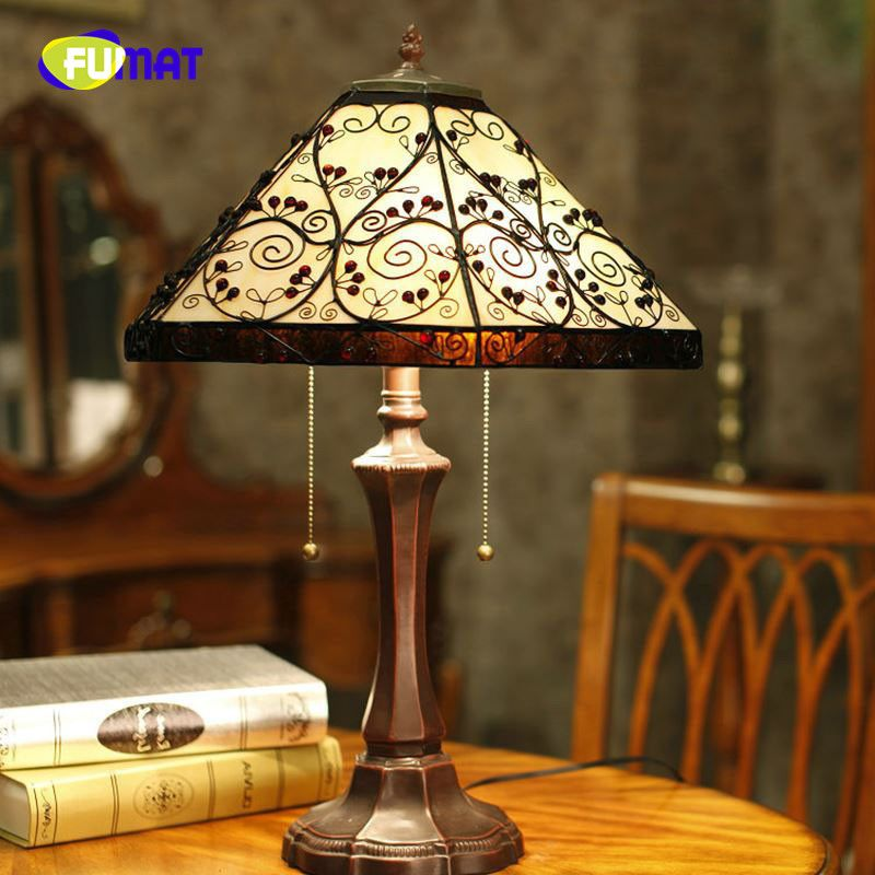 Fumat Table Lamp European Style Vintage Table Lamp Glass Tiffany Hexagon Bedside Lamp Home Decoration Living Room Stand Lamp Vintage Table Lamp Lamp Table Lamp