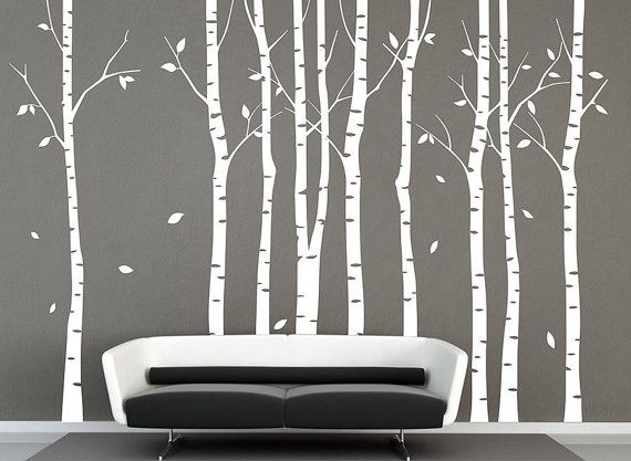 stickers muraux 9 bouleau arbres autocollant arbre mural autocollant nature bouleau blanc mur. Black Bedroom Furniture Sets. Home Design Ideas