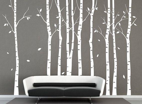 stickers muraux 9 bouleau arbres autocollant arbre mural autocollant nature bouleau blanc mur. Black Bedroom Furniture Sets. Home Design Ideas