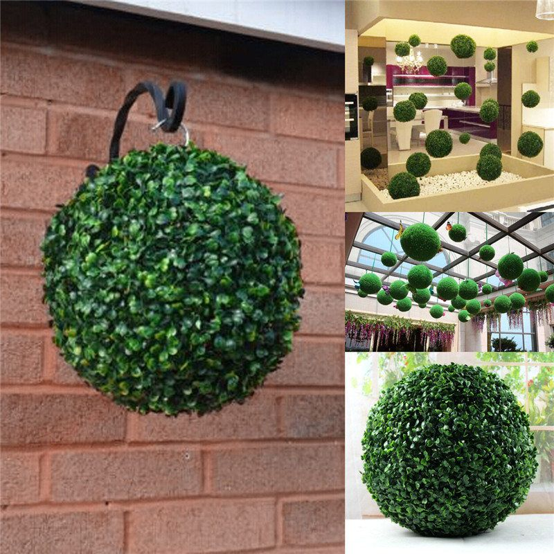 Awesome Hot Sale Removable 35cm Plastic Topiary Leaf Effect Grass Ball Trees Hanging  Indoor And Outdoor Decoration
