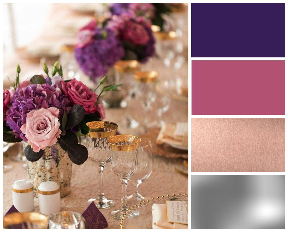 Purple winter wedding colour scheme dark purple magenta for Winter wedding color palettes