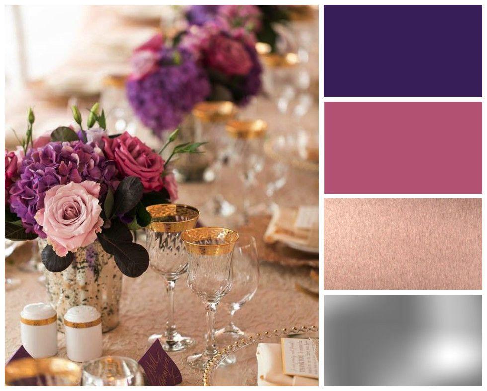 Purple Winter Wedding Colour Scheme Dark Purple Magenta Rose