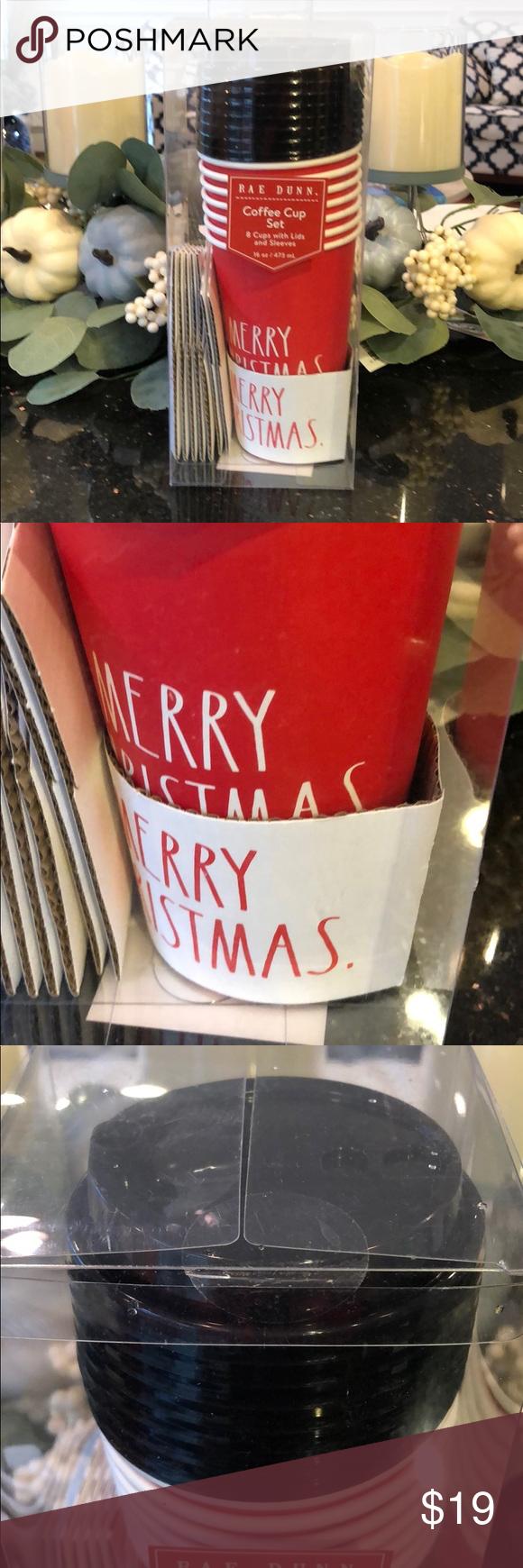 Rae Dunn coffee cup set MERRY CHRISTMAS 16 oz NWT Coffee