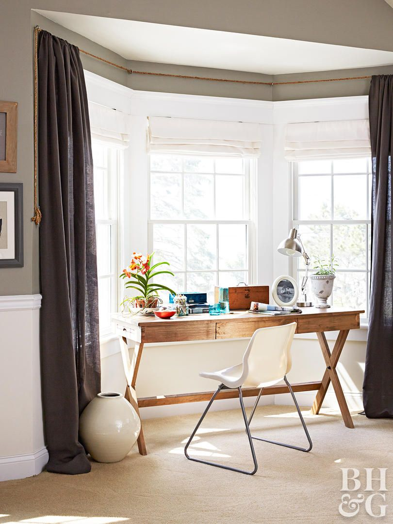 Bay curtain rods can be pricey but diy window treatment ideas can save your budget this clever homeowner threaded rope through eye bolts and pulled it