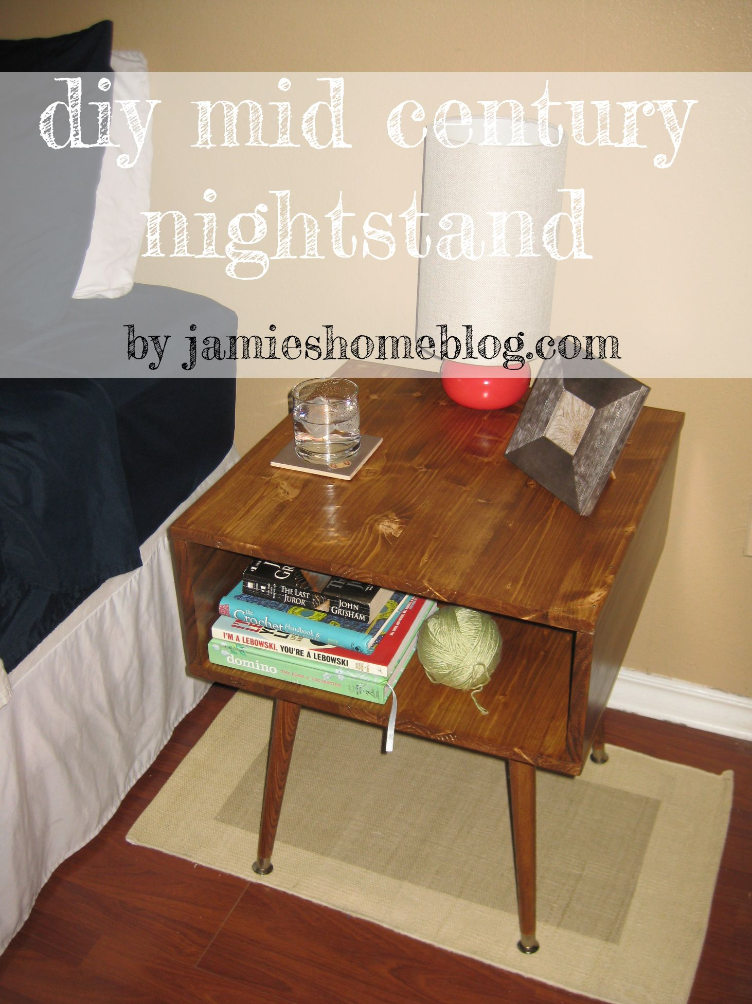 Diy mid century nightstand legs = $5 ea angle plates = $2ea
