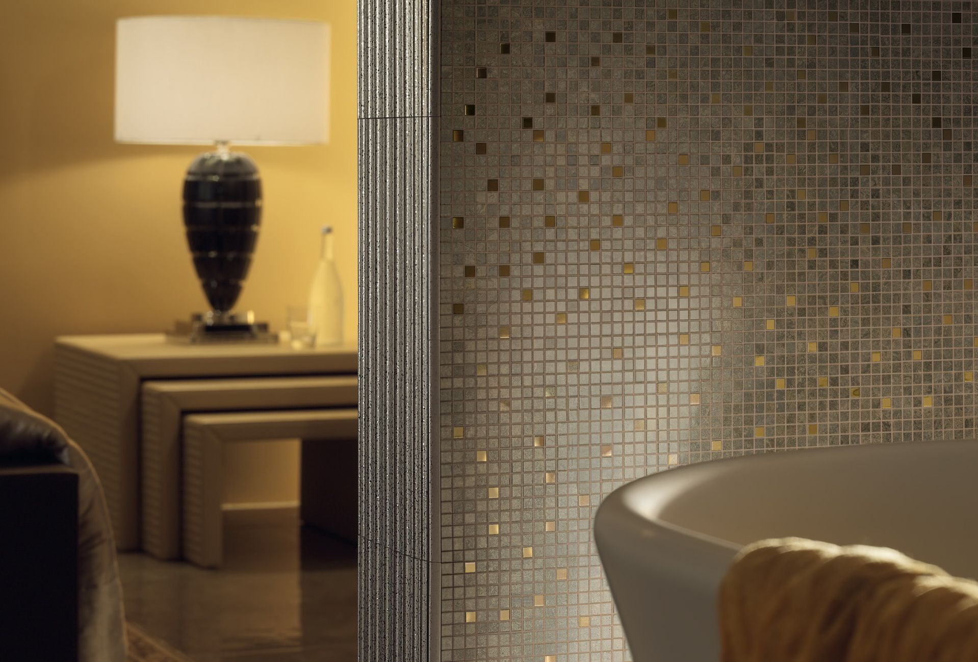 Or Gold Carrelage Palce26 Versace Mosaique Bathroom Confort