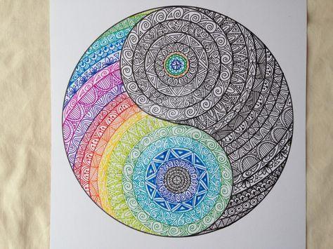 Yin Yang Colour And Ink By Madebymelw Mandala Design Art Mandala Artwork Yin Yang Art