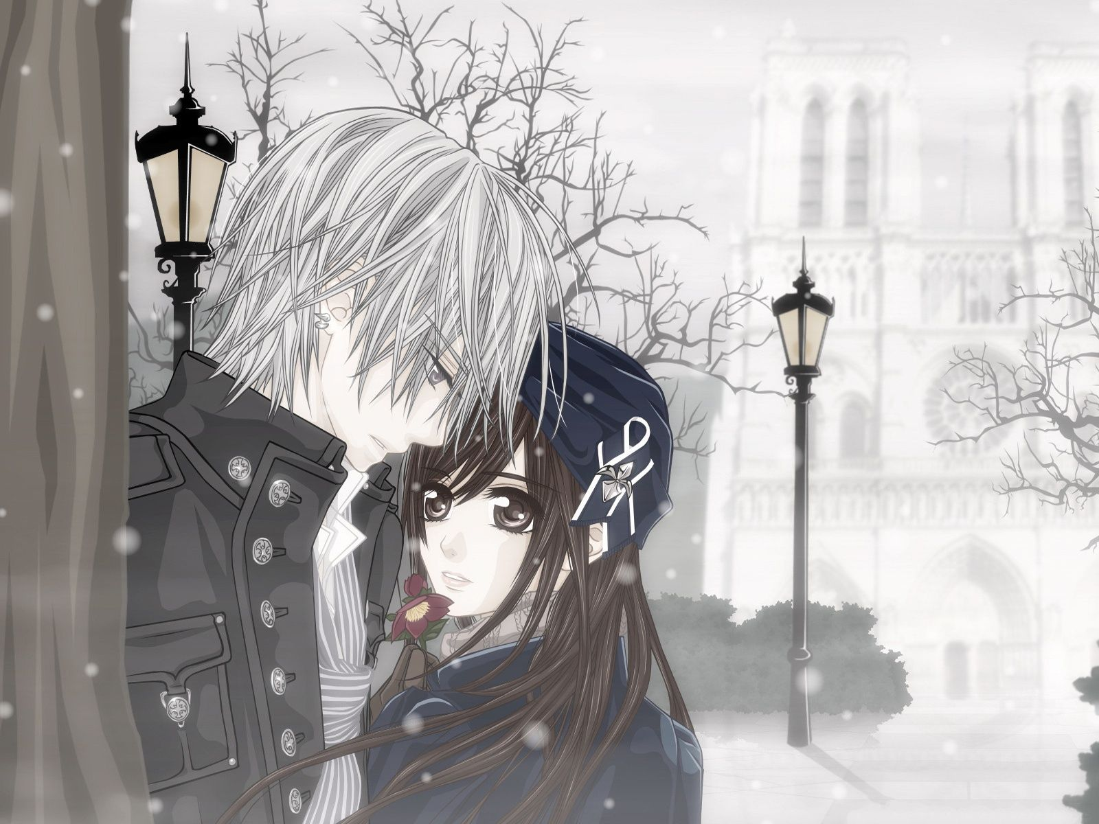 Winter Love Widescreen Background Anime Wallpaper Romantic Anime Vampire Knight
