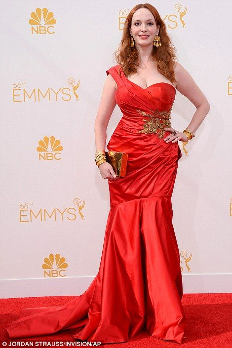 Christina Hendricks stunned in a glam Marchesa red satin gown at the 2014 Emmys http://dailym.ai/1lufdYb