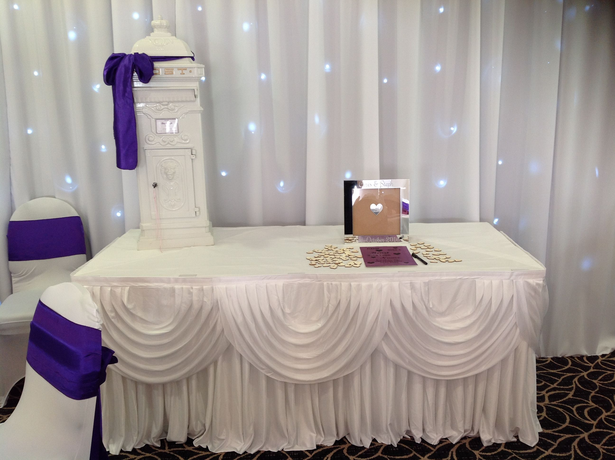 chair cover hire tamworth orange louis ghost post box and gift table swags available to from make it special events atherstone