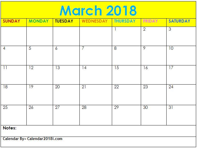 March 2018 Excel Calendar Template Maxcalendars Pinterest