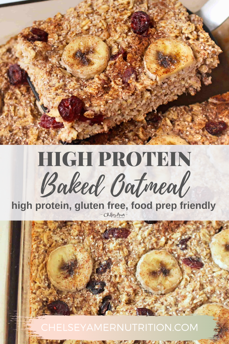 High Protein Baked Oatmeal Chelsey Amer Recipe Protein Baking Protein Oatmeal Baking