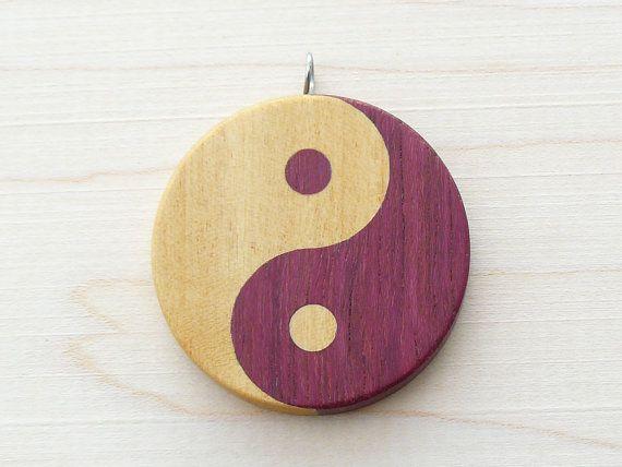 Wooden yin yang pendant yin yang necklace yin yang symbol yin wooden yin yang pendant yin yang necklace yin yang symbol purple and yellow aloadofball Images
