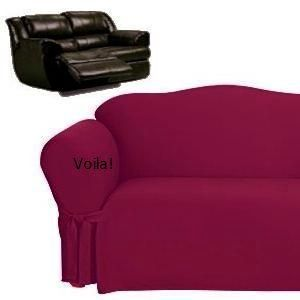 Reclining Sofa Slipcover Burgundy Cotton Adapted For Dual Recliner
