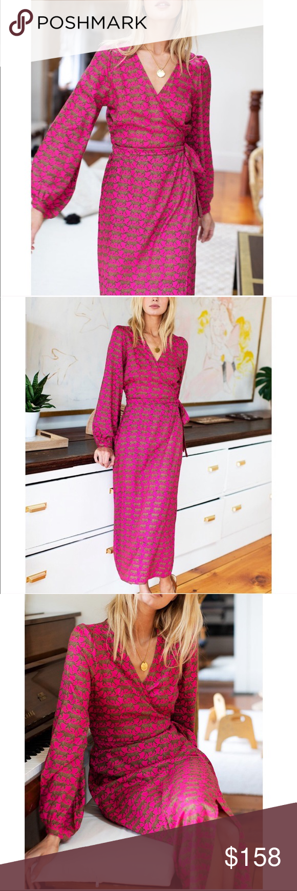 "Emerson Fry Bishop Dress- Pink Walking Cheetah Imperfect item- Size S has dye irregularities(see last pic), XS is missing button at cuff Hand block printed w/ low impact dye Modal Adjustable wrap style dress Set in puff shoulder Bishop style sleeve w/ button closure at wrist  Model is 5'9 wearing a size xs  Hand wash, line dry  Made in Rajasthan, India  XS: Center Back Length 47 1/2, Bust 33"", Waist 26"", Hip 37"" S: Center Back Length 48, Bust 35"", Waist 28"", Hip 39 Emerson Fry Dresse #emersonfry"
