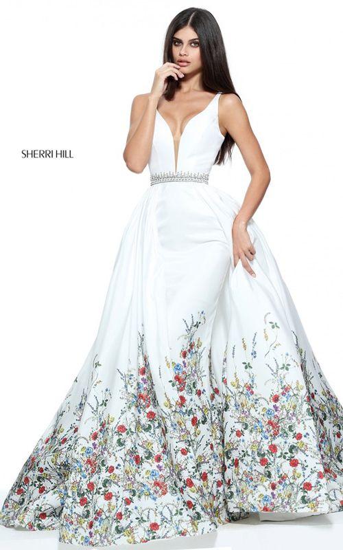 2017 Beaded Sherri Hill 51232 Ivory Print A Line Prom Dress