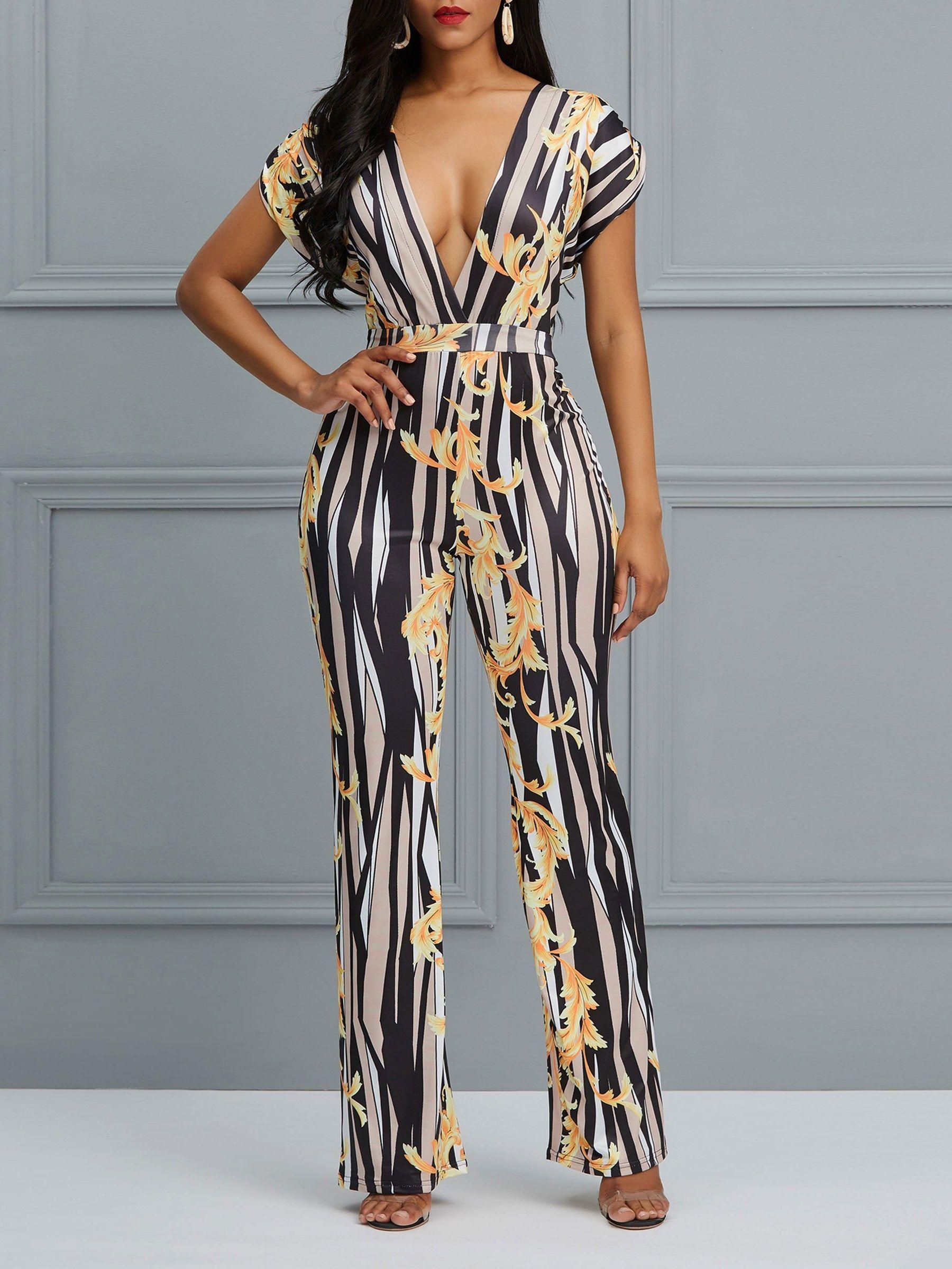 a9685f9860d Deep V Floral Striped Skinny Women s Jumpsuit