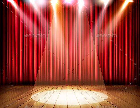 A Theater Stage With A Red Curtain And A Spotlight Red Curtains Stage Curtains Theatre Stage