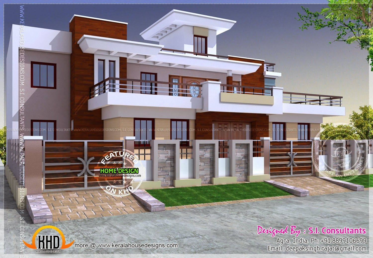 Modern style house design india architecture pinterest for Kerala home designs contemporary