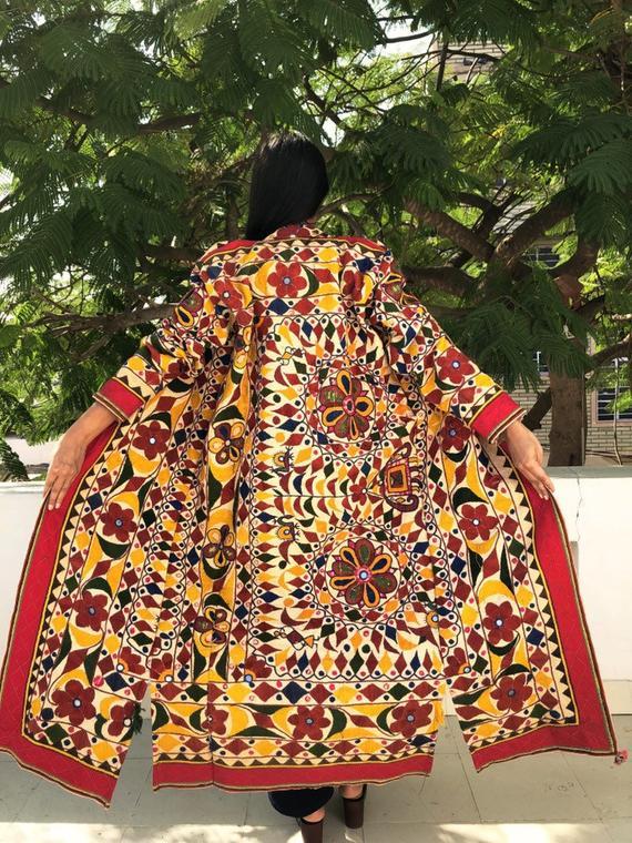 Banjara Jacket Duster Bohemian Long Jacket Embroidered Coat Indian Handmade Vintage Jacket  handmade mirror  unisex boho hippie