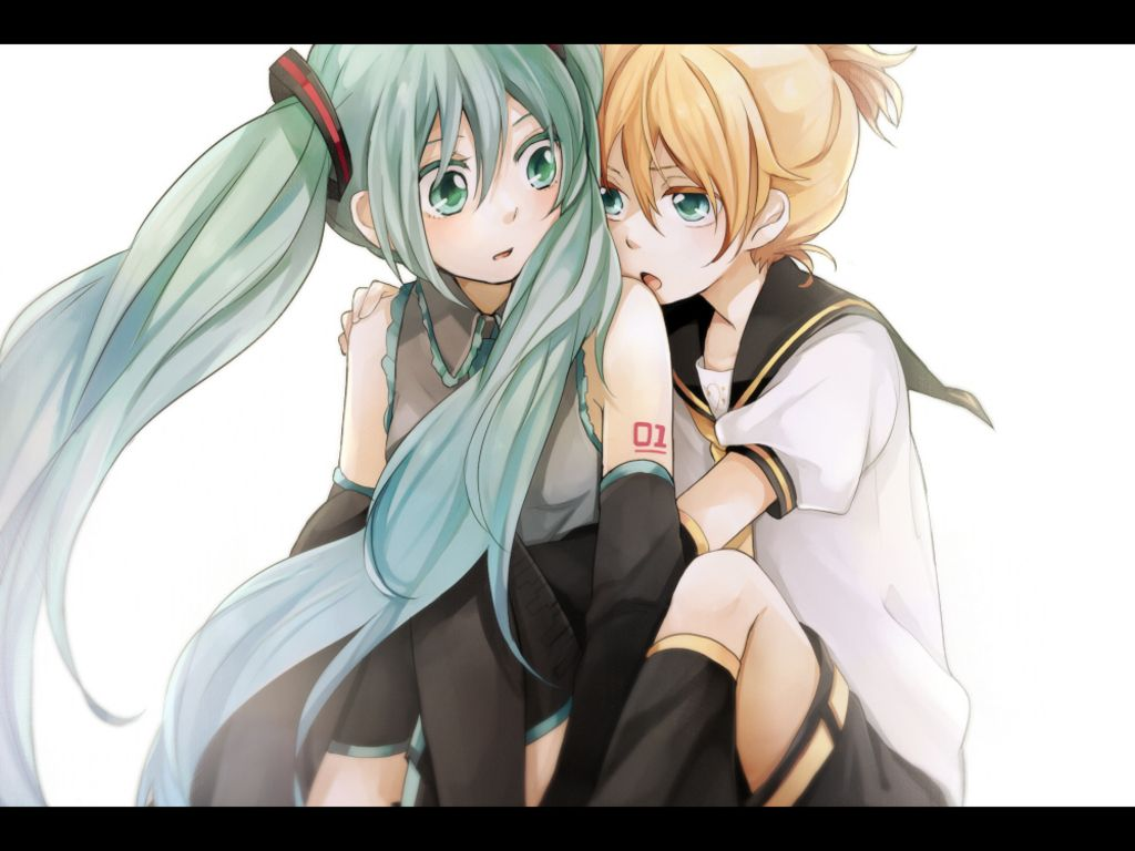 Download Wallpaper 1920x1080 Hatsune miku, Kagamine rin, Two tails ...