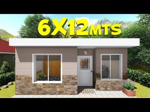 Plano De Casa De 6x12m Youtube Frente De Casas Sencillas Casas Prefabricadas Economicas Croquis De Casas Pequenas
