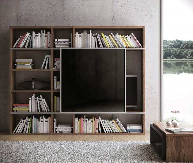 47 id es d co de meuble tv furniture meuble - Meuble tv avec bibliotheque ...