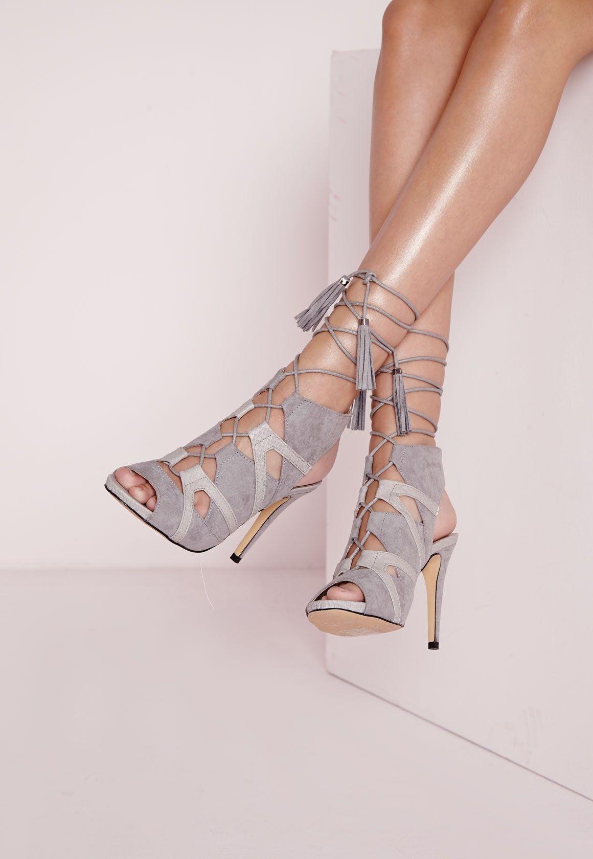 Sandales à talon grises lacées - Chaussures - Talons hauts - Missguided
