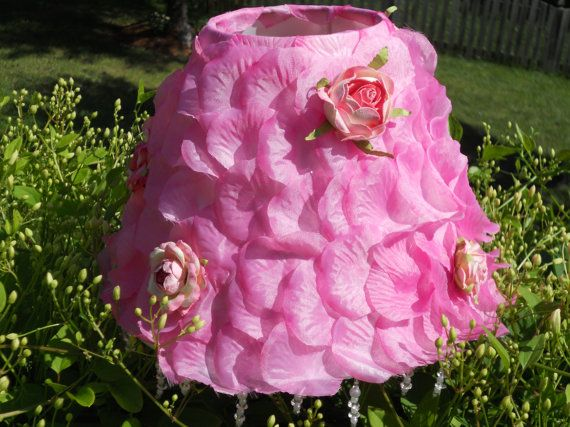 Lamp shade with pink rose petals and roses, girls room, nursery. $39.50, via Etsy. (I can make this!)