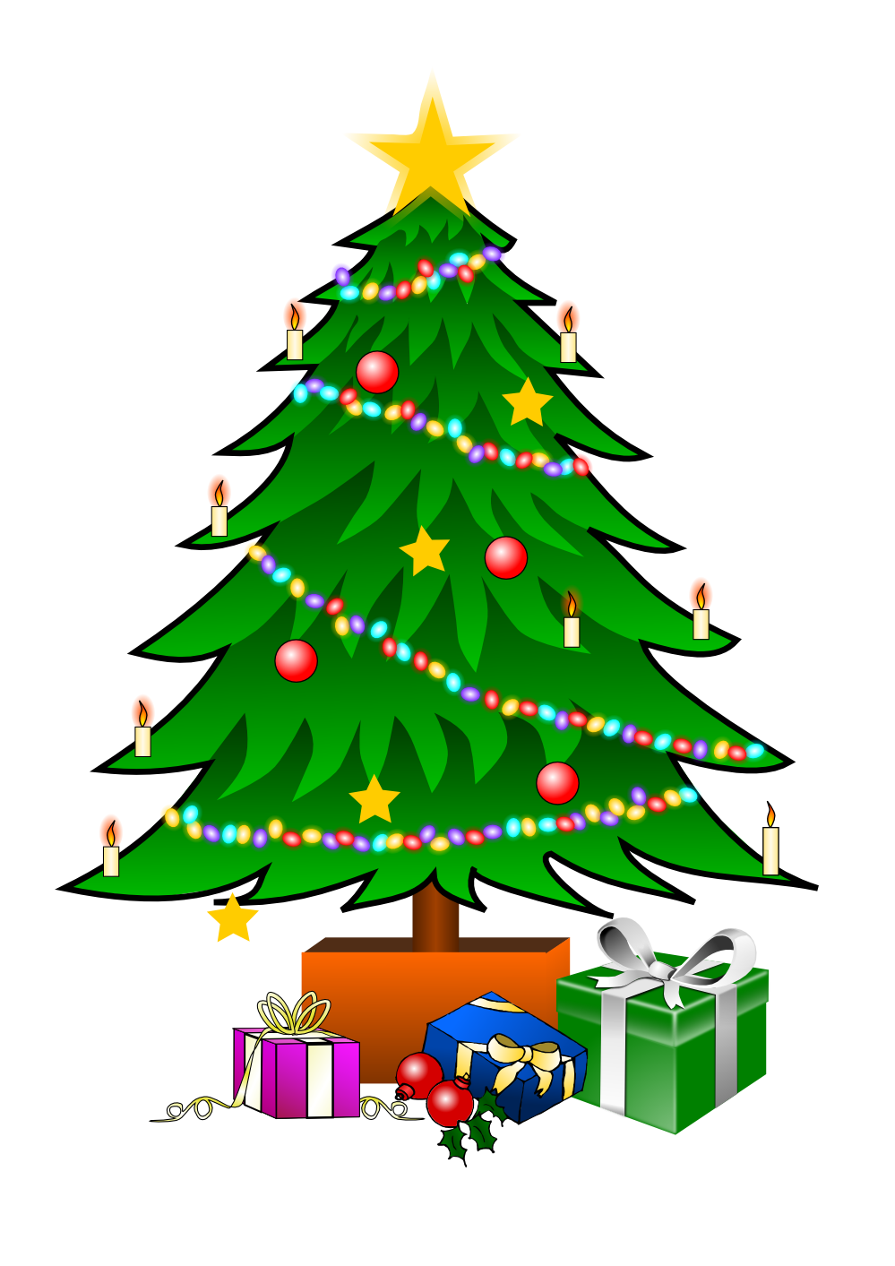 This nice Christmas tree with presents clip art can be