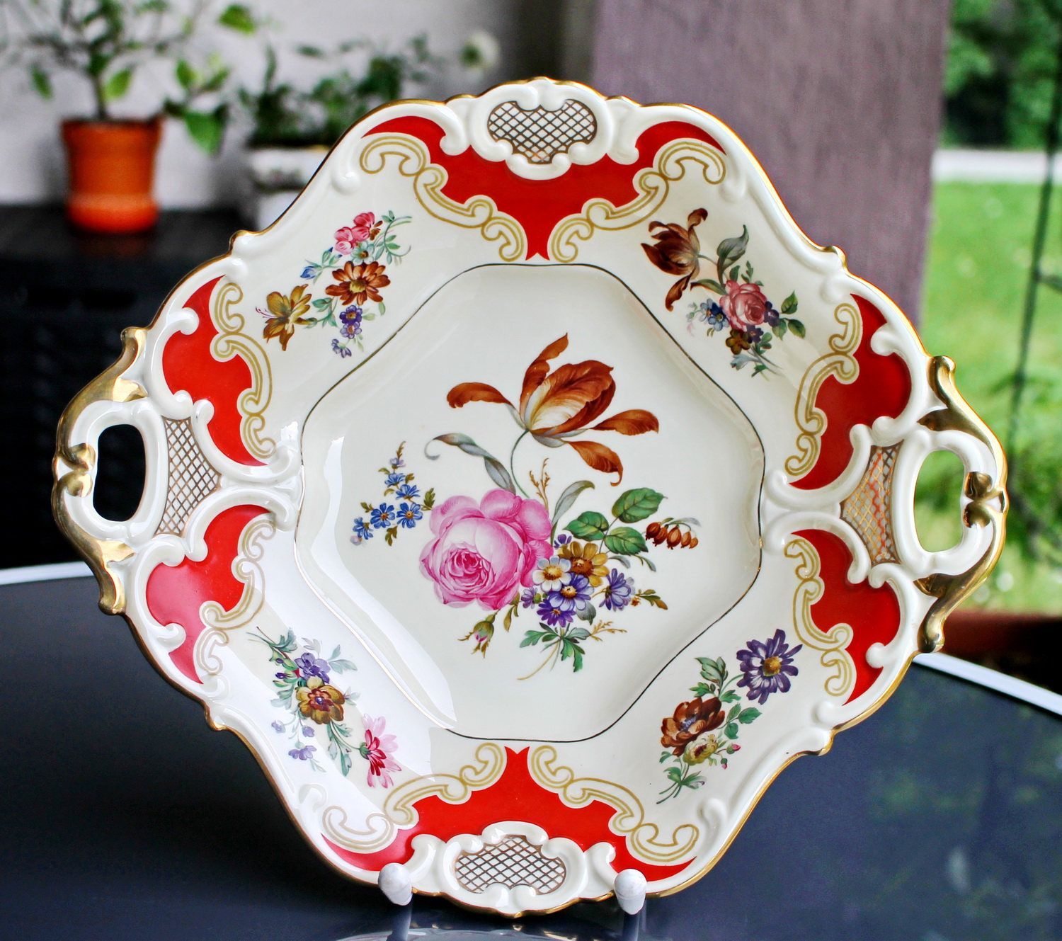 Vintage Platter Bavarian China Serving Dish German Porcelain Serving