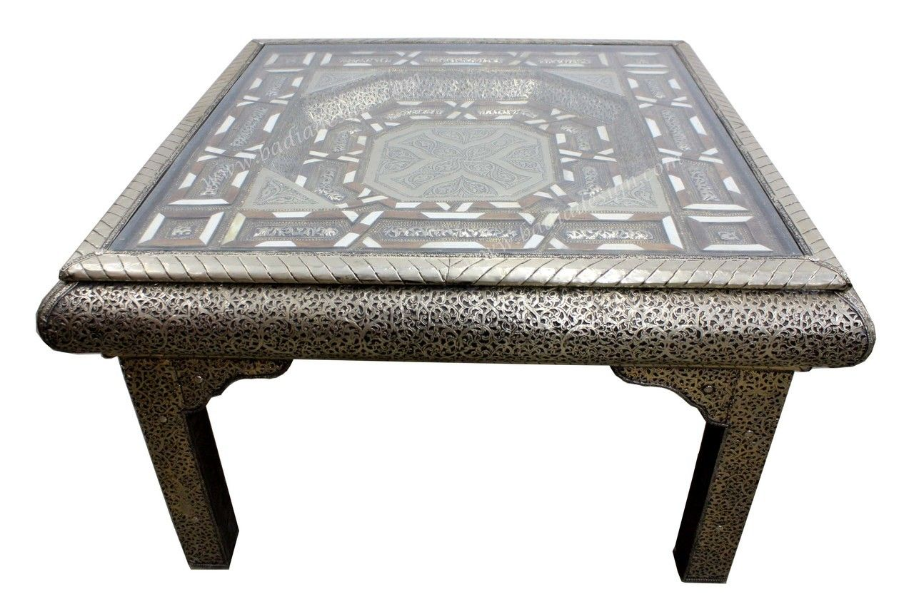 Square Shaped Metal And Bone Coffee Table   MB ST069