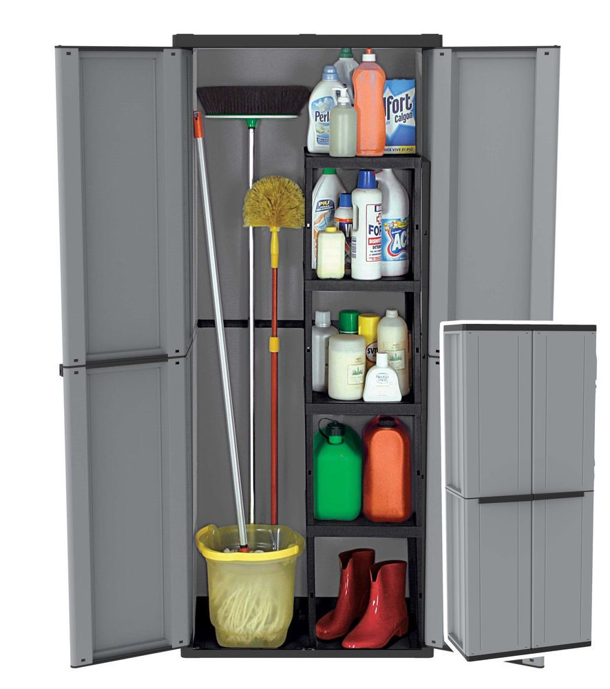 Etonnant Plastic Garden Storage Cupboard Outdoor Cabinet Sheds Lockable 2 Door Broom  Flat #PlasticGardenStorageCupboard