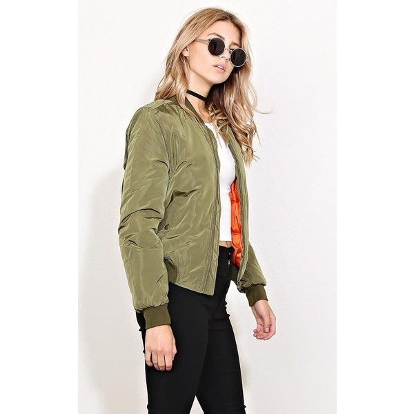 Woven Puffer Bomber Jacket ($27) ❤ liked on Polyvore featuring outerwear, jackets, lightweight jacket, button jacket, brown bomber jacket, blouson jacket and pocket jacket