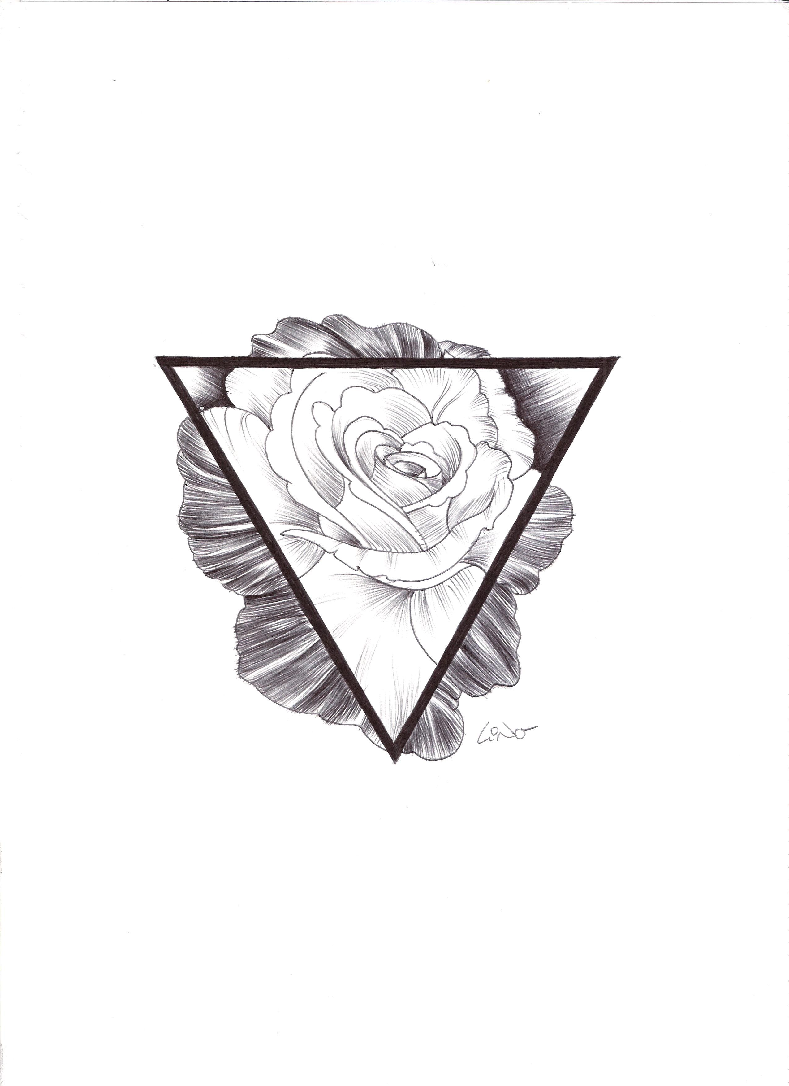 Hipster Rose And Triangle Tattoo Black White Tattoo
