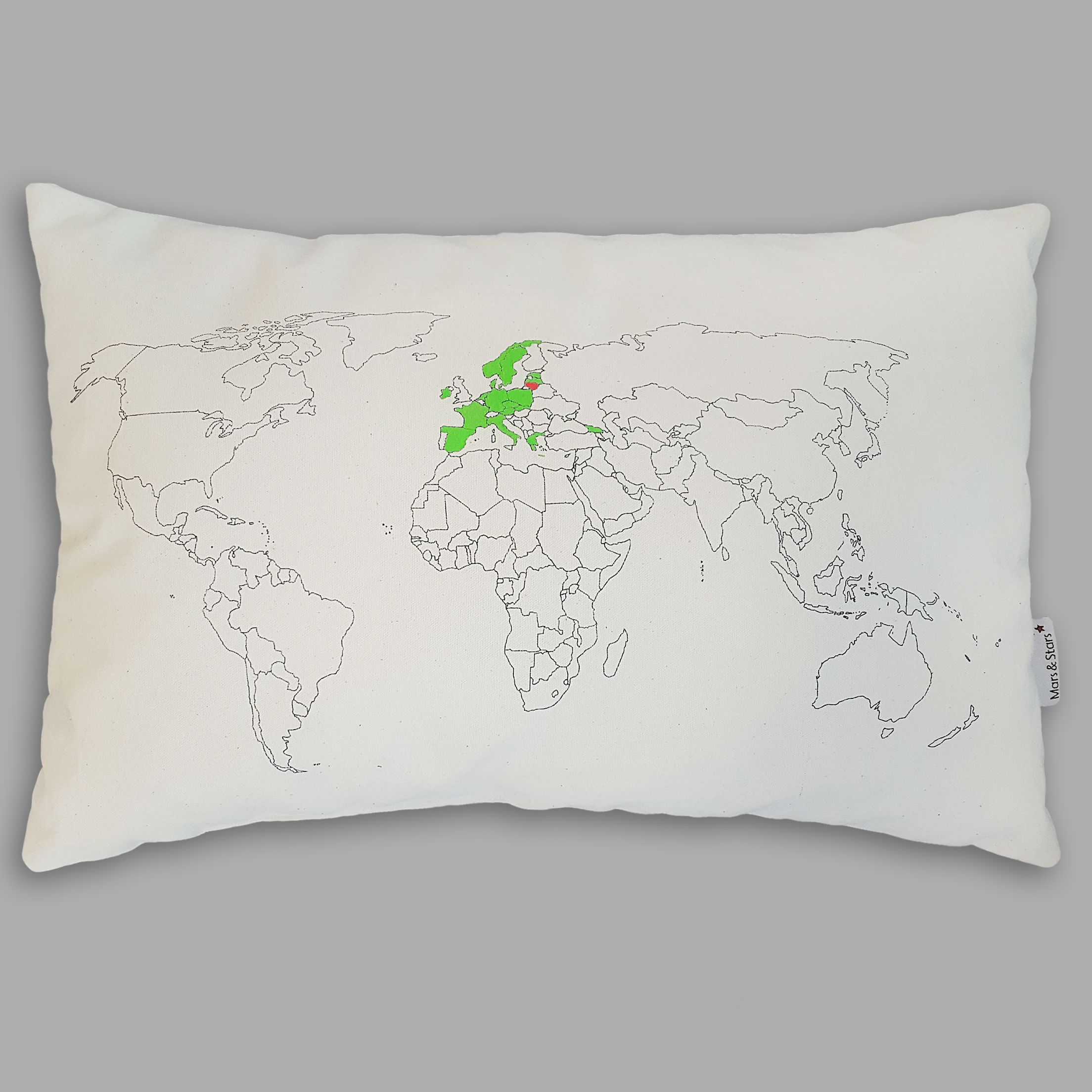 Choose your color of a fabric marker and paint countries to keep track all of your travels on this unique world map pillow choose your colour of a fabric marker and paint countries to keep a record of your travel trips gumiabroncs Choice Image