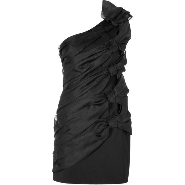 Valentino - Silk Bow Dress in Black ($1,194) ❤ liked on Polyvore featuring dresses, 13. dresses., dresses., short dresses, black, cocktail & party, women, silk cocktail dress, sheer cocktail dress and holiday party dresses