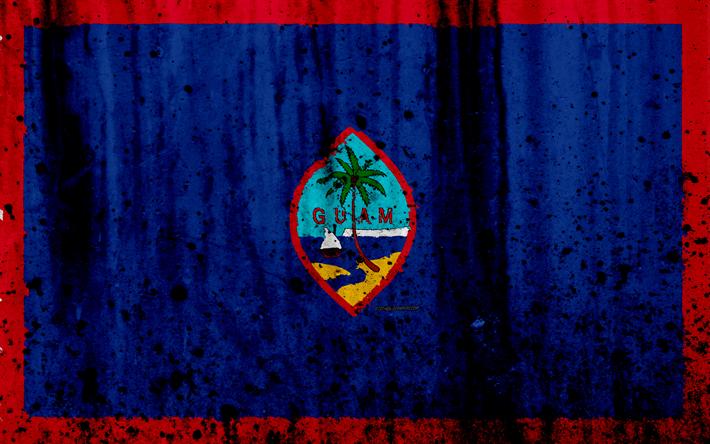 Lataa kuva Guamin lippu, 4k, grunge, lippu uruguay, Oseania, Guam, kansalliset symbolit