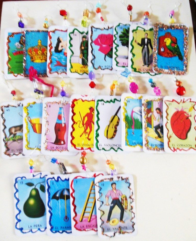 Mexican Loteria Christmas Card 20 Ornament Decorations