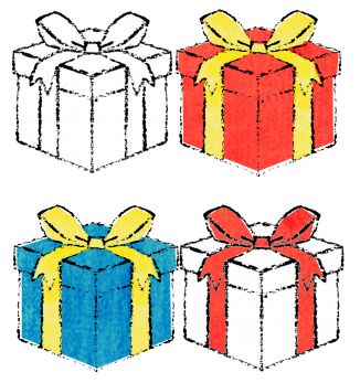 プレゼントボックス無料イラスト素材 手書きギフトボックスイラスト