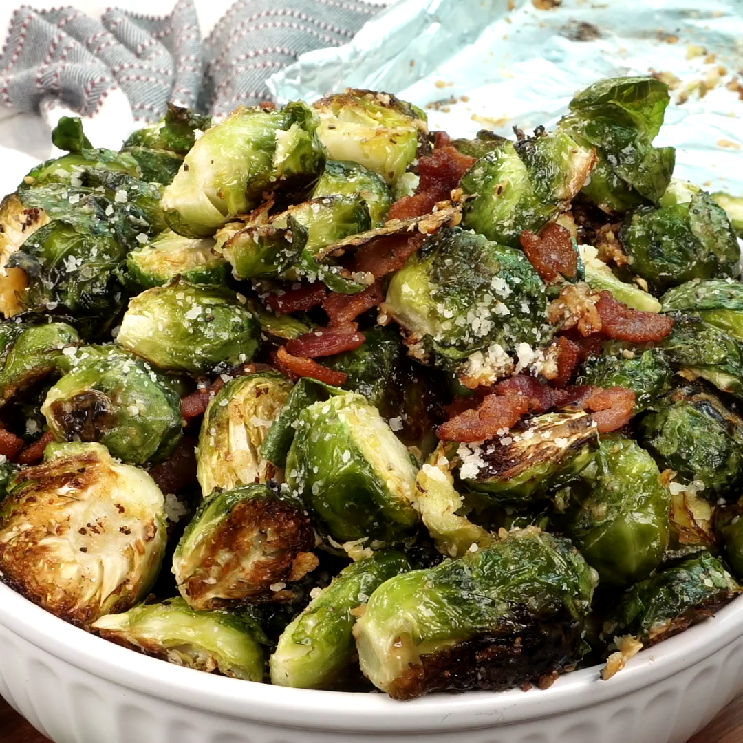 Photo of Parmesan Roasted Brussels Sprouts with Bacon