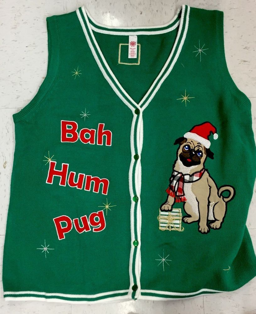 NEW BAH HUM PUG UGLY CHRISTMAS SWEATER VEST TACKY PARTY MENS L XL ...
