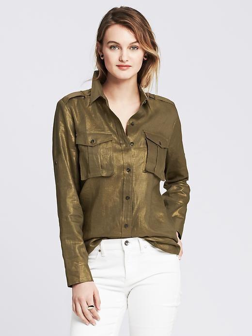 79f98576e Banana Republic Womens Heritage Metallic Linen Shirt | Womens Linen ...