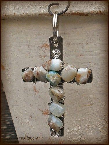 OOAK  // Beaded Cross Key Ring // Blue Peruvian by rustiqueart