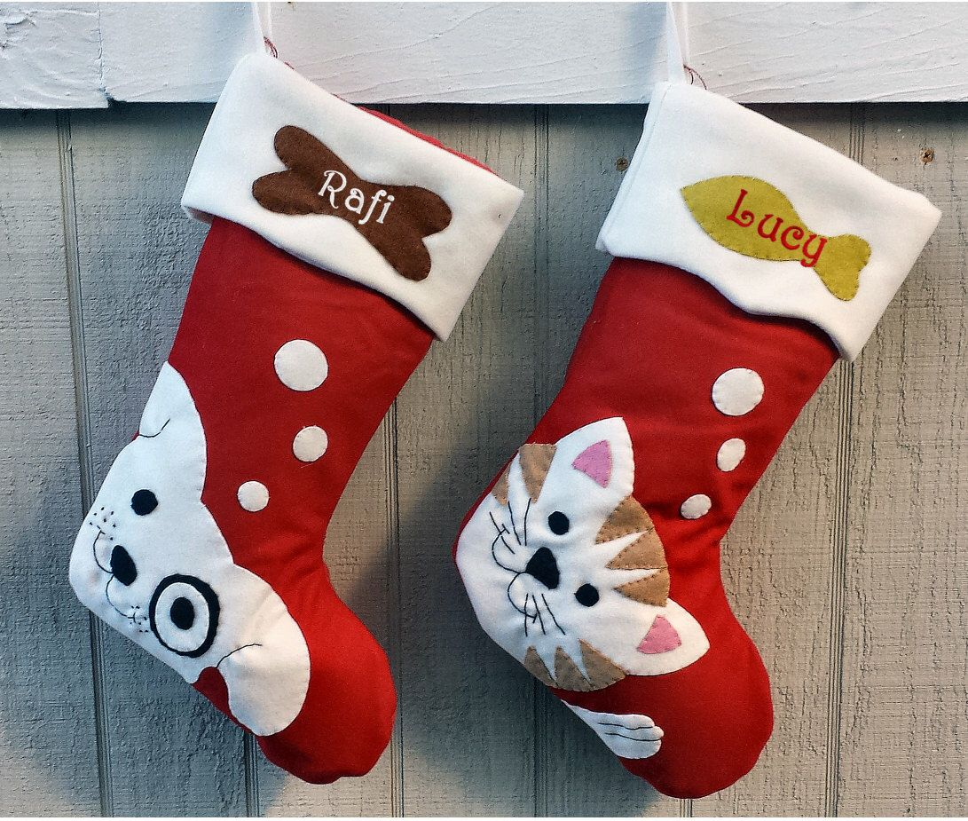 pet dog christmas stockings cat stocking whimsical monogrammed holiday modern puppy kitten cute dog bone