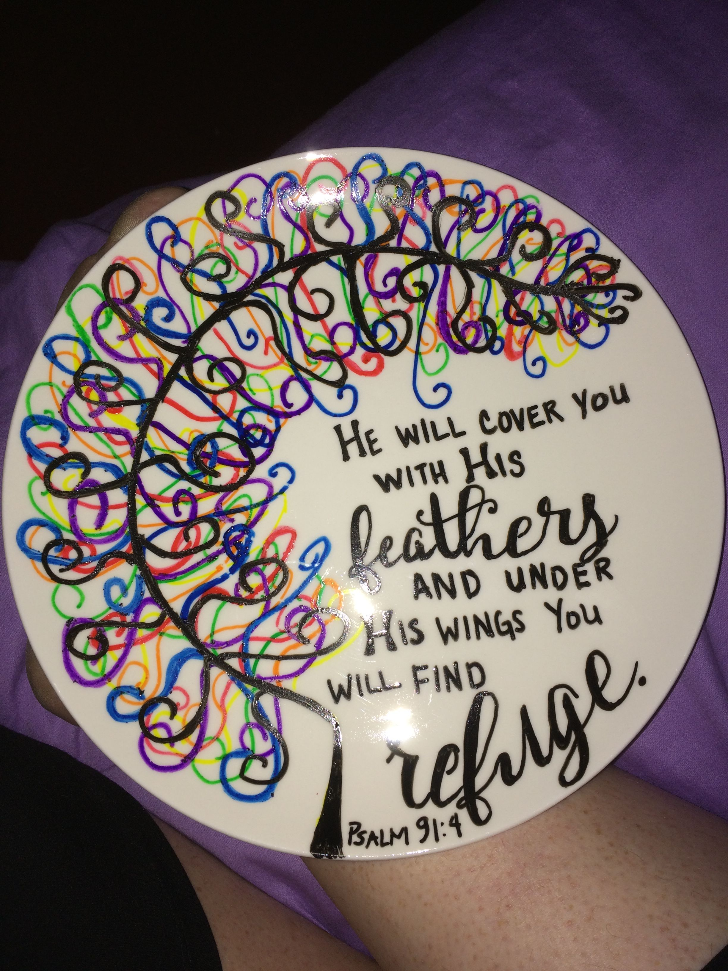 DIY Plate using DecoArt Glass Paint Markers found at Hobby