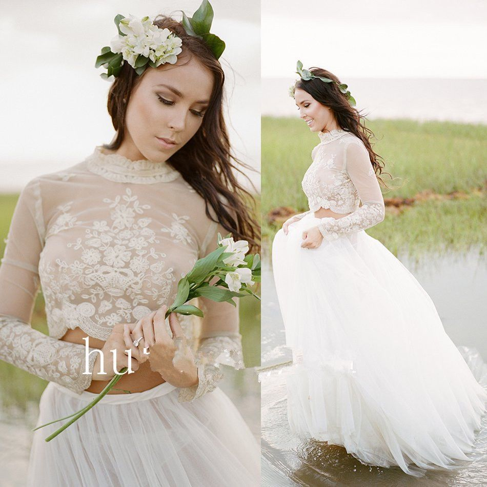 High Neck Two Piece Long Sleeve Wedding Dress beach Tulle