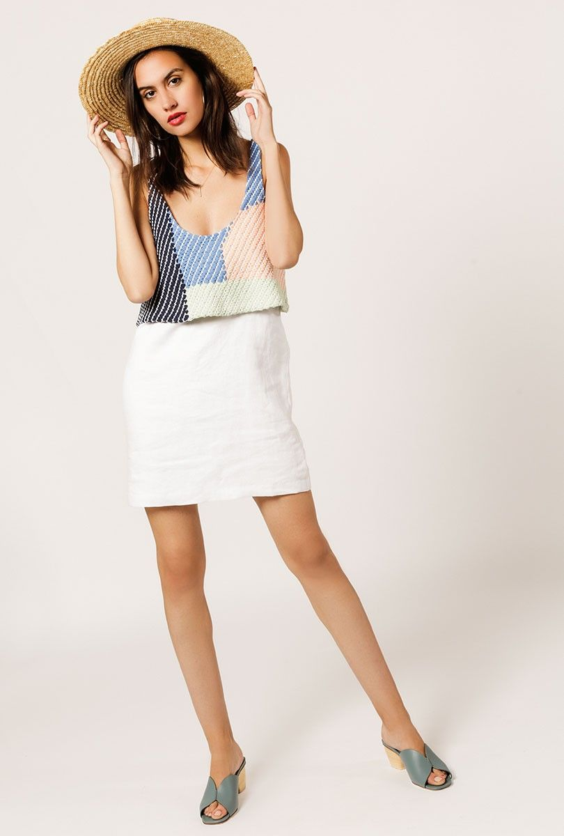 e06b7ee443e The Tank Mini Dress by Mara Hoffman is an organic linen mini dress in white  with a colorful woven overlay at bodice. Fully lined.
