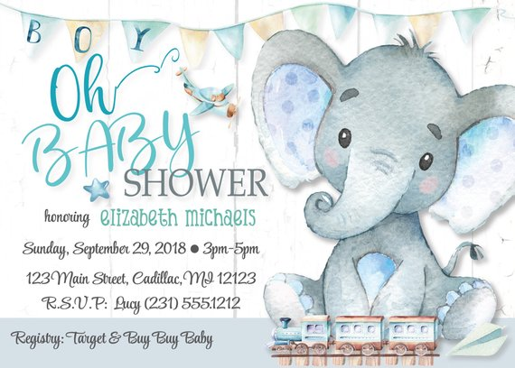 Elephant Baby Shower Invitations Boy O Printable Invitation Digital