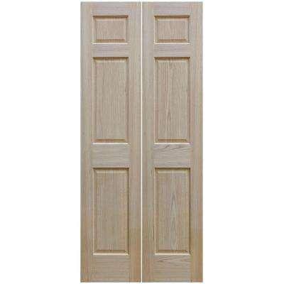 24 In X 80 In Unfinished 6 Panel Solid Core Red Oak Interior Bi Fold Door Oak Interior Doors Bifold Doors Doors Interior